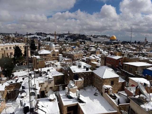 Kudüs karla daha da güzelleşti-FOTO