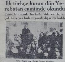 İlk Türkçe Kur'an 82 yıl önce okunmuştu