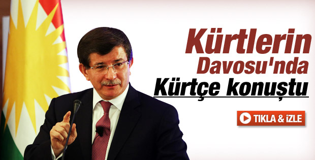 Davutoğlu Kürtlerin Davosu'nda Kürtçe Konuştu İZLE