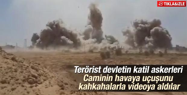 Caminin bombalanmasına sevinen İsrail askerleri