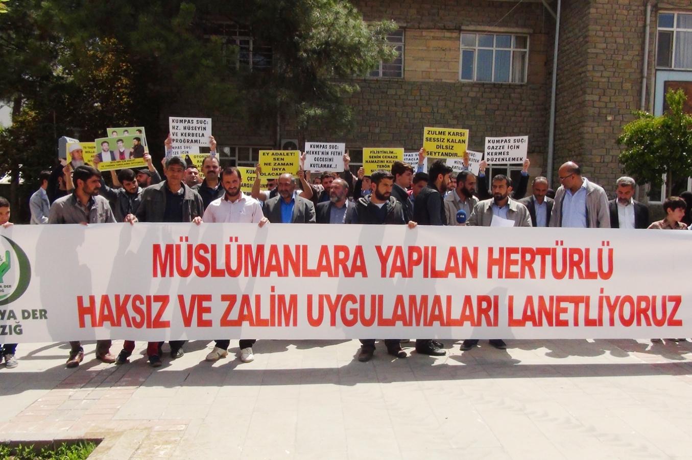 İslami STK Üyelerine verilen ceza Elazığ'da Protesto Edildi