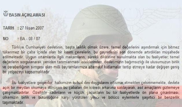 'E-Muhtıra'nın Üzerinden Dokuz Yıl Geçti