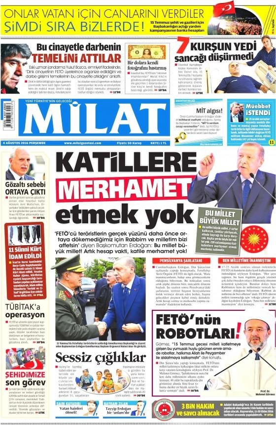 Milat Gazetesi Ak Partiyi Eleştirdi