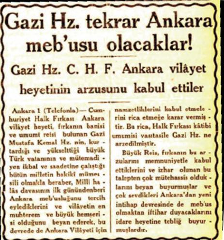 """""""Gazi Hz .  Tekrardan Ankara Mebusu Olacaklar"""""""