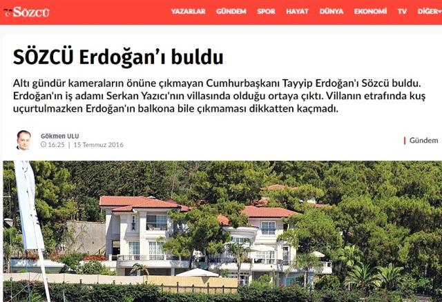 Sözcü Erdoğan'ın Yerini Deşifre Etmek için Anket Yapmış