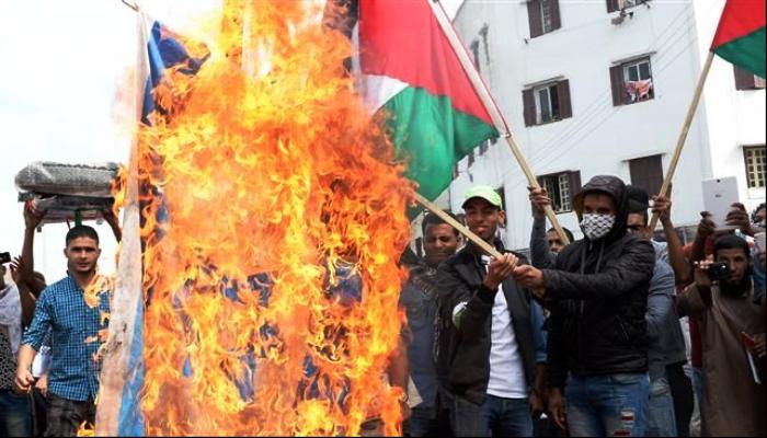 Fas'ta Halk Sokağa İndi:  Filistin Satılık Değildir