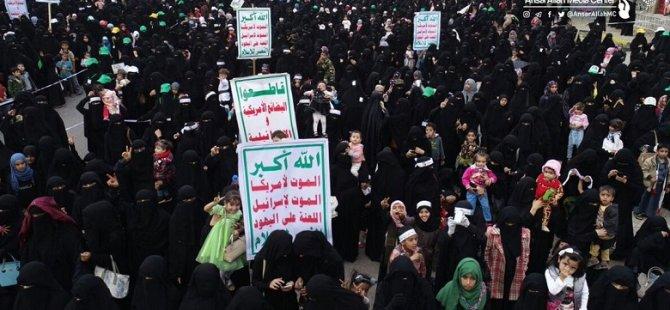 Yemen'de Suud'un Kadın ve Çocuk Katliamları Protesto Edildi